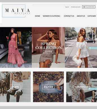 Website Development for Retail Industry for 'Maiya Boutique' in Magento