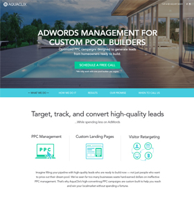 SynapseCo Portfolio Responsive Website Design & Development for PPC Agency, USA - AquaClix Big