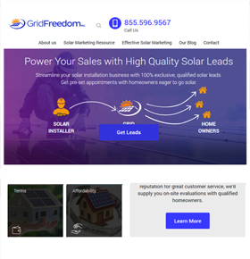 SynapseCo Portfolio - Redesigning of WordPress Website for Solar industry, USA - Grid Freedom