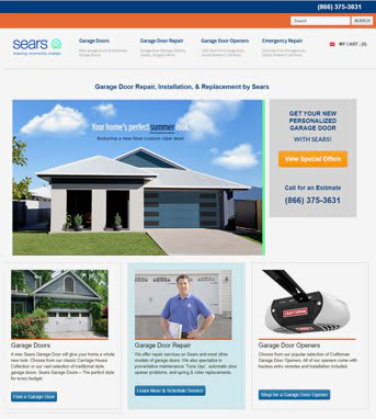 Website Development for Retail Industry 'Sears Garage Doors' in WordPress