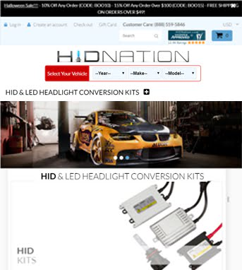 Ecommerce Website Development for Automotive Industry 'HIDNation' in Shopify