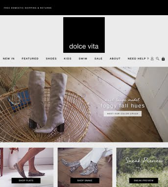Ecommerce Website Development for Retail industry 'Dolce Vita' in Shopify