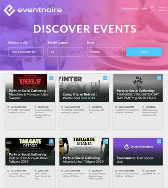Website Design for Media Industry 'Eventnoire' in HTML & CSS