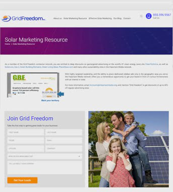 Website Development for Consumer Industry 'Grid Freedom' in WordPress
